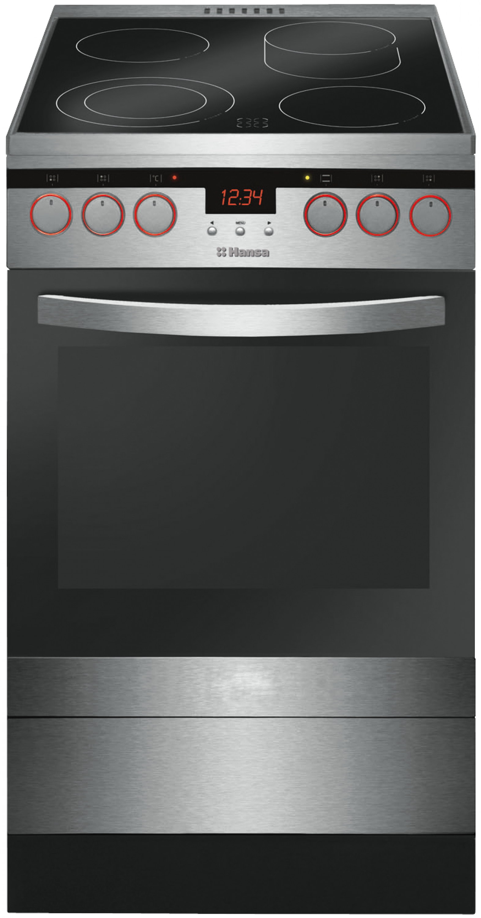 Freestanding cooker with ceramic hob